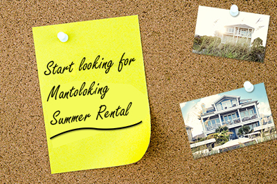 Mantoloking summer rental, Corkboard with sticky note with reminder to start looking for Mantoloking summer rental and 2 pictures of houses